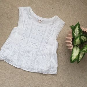 White Cut Out Boxy Summer Blouse
